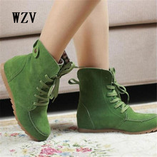 WZV Hot 2017 Ladies Boots Round Toe Flat Shoes Martin boots Woman Boots Solid Lace Up Womens Casual Shoes Comfort Autumn Shoes