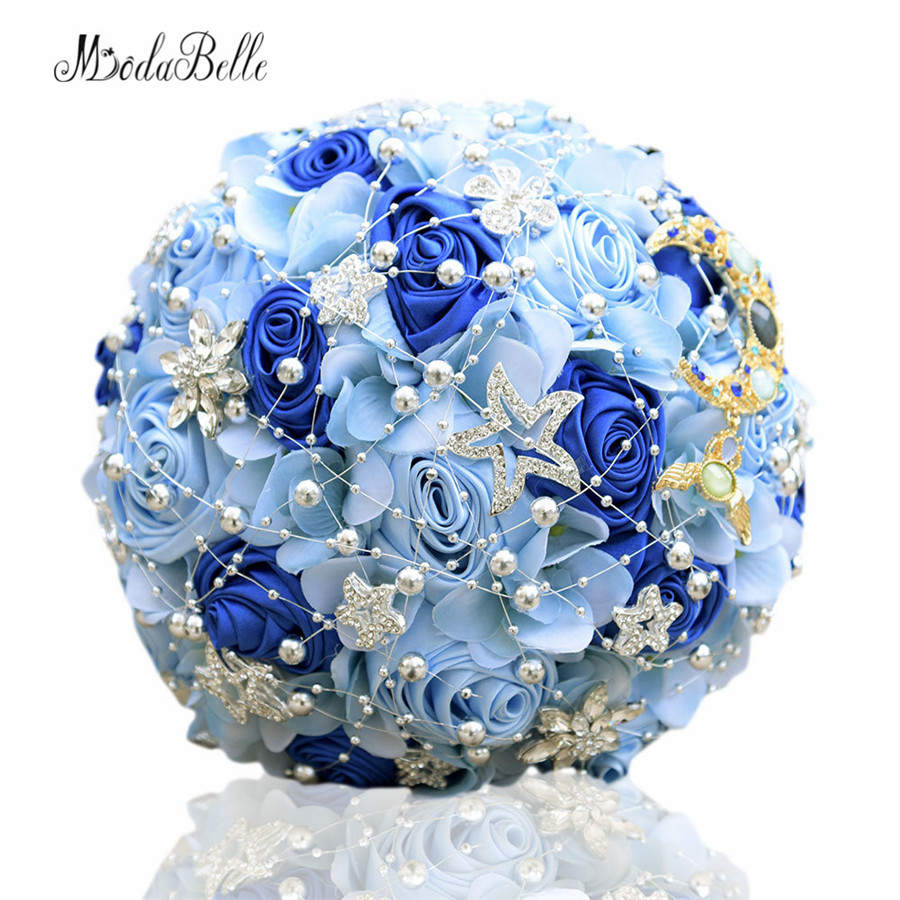 Modabelle 7 Colors Bridal Bouquets Crystal Royal Blue Wedding Bouquets Buques Para Casamento Artificial Bouquet De Mariage 2017