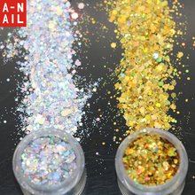 Gold and Sliver Dazzling Radiancy Transparents Sequins Dust DIY Nail Glitter Decorations Nail Art Designs Acrylic UV Mix Powder(China)
