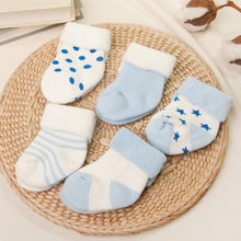 0-2Y 5 Pairs/Lot Newborn Baby Socks Thickened Terry Socks Winter Meias Para Bebe Calcetines Calzini Antiscivolo