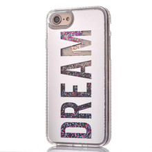 Plating Mirror BlingBling For iPhone 6 6S 7 6s plus case Diamond Dream Girl Sparkle Quicksand Glitter Star Flowing Liquid Cover