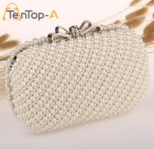 TenTop-A Full Side Handmade Beaded  Bridal Bags Women's Beaded Bag Imitation Pearls Diamond Bowknot Beads Clutch Purse For Party