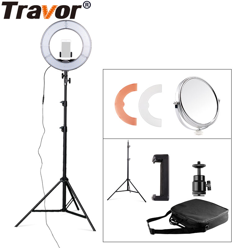 "Travor RL-12 12"" 180 LED Camera Ring Light Video/Photo/phone Panel Lamp CRI 90+ Color 5500K Dimmable Studio Photography Lighting(China)"