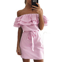 Apparel Ruffles Slash Neck Women Dress Summer Style Off Shoulder Sexy Dresses Vestidos Blue Green Pink Slim Stripe Beach Dress