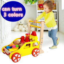 Latest speed multifunction wooden children walker trolley ride baby walker wooden toy car