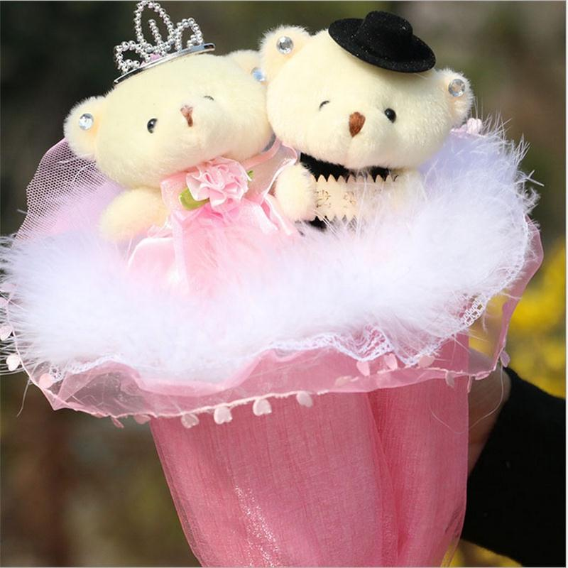 Creative DIY a couple teddy bear exquisite cartoon oft Plush Toy bouquet  Valentines day and Christmas day gifts free shipping<br><br>Aliexpress