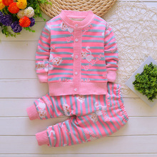 BibiCola baby autumn winter clothing sets Cardigan boys girls kids warm clothes suit underwear 2 pcs knits children sweaters
