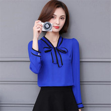 Casual Women Shirts New Fashion Trends Nice Spring Tops Womens Clothing Long Sleeve Korean Style Elegant Chiffon Blouse With Bow(China)