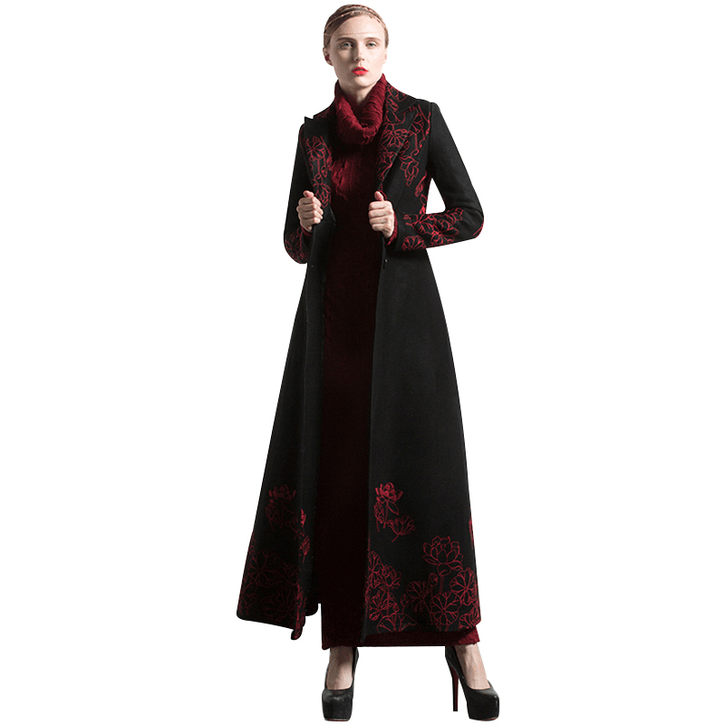 New Fashion S-XXXL Autumn Winter Embroidery Black Long Coat Florals Plus Size Luxury Trench Women Muslim Outwear 6254