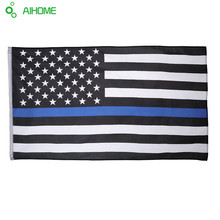 Blueline Thin Blue Line American Flag 3 By 5 Foot Flag Honoring Our Men And Women Of Law Black White And Blue With Brass Grommet(China)