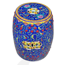 Blue Famille Rose Porcelain Ceramic Garden Stool End Table