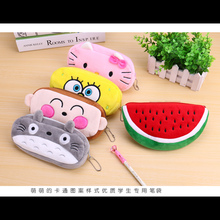 1 pcs/lot school kawaii totoro pencil case bag/pencil bag panda plush Cosmetic Purse Zipper Bag Coin Pouch Kids Gift 12 colour(China)