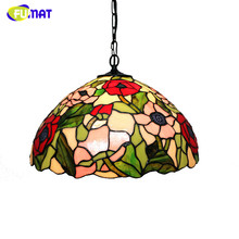FUMAT Stained Glass Pendant Light Classic Garden Flowers Lamp Restaurant Living Room Kitchen Suspension Lightings Light Fixtures