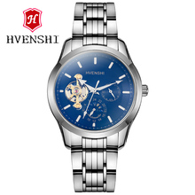 HVENSHI Blu-ray table mirror automatic men's mechanical watch, tourbillon moon phase multi-function 50M waterproof steel clock.