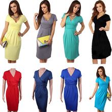 Buy Sexy Women Pregnant Maternity Dress V-Neck Slim Bodycon Dresses Short Sleeve Stretch Wrap Basic Pregnant Clothing FS99 for $5.68 in AliExpress store
