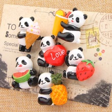 6 Style Kawaii 3D Panda Fruits Edition Cartoon Creative Resin Action Figures Model Toys Fridge Magnet For Home Decoration Gifts