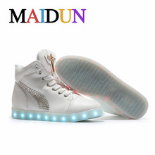 led high top shoes woman casual neon shoes women flat with ligh up Glowing unisex hot fashion neon basket Glowing shoes