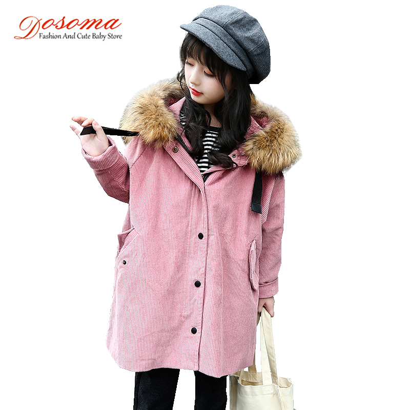 Dosoma corduroy jacket for girls fashion winter thick long hooded coats detachable fur collar childrens warm outerwear clothes<br>