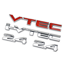 2.4 I-VTEC Red Chrome Letters Numbers Metal Refitting Car Styling Emblem Badge Sticker Fender Trunk for Honda Accord CR-V Civic(China)