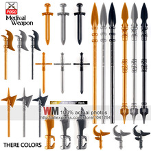 10pcs/lot Latest Weapon Sword Helmet Armor Shield Accessories Building Blocks Bricks Medieval Knight Weapons(China)