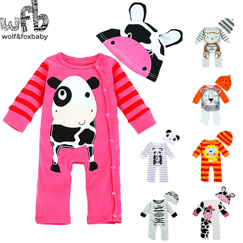 Retail 0-3years 2pieces/set long-Sleeved Baby boys cartoon romper + cap kids Infant jumpsuits Clothing fashion spring fall<br><br>Aliexpress