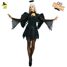 2017 New Evil Fallen Angel Costume Dress Black Fantasia Halloween Costumes For Women Sexy Fancy Dress Costumes(China)