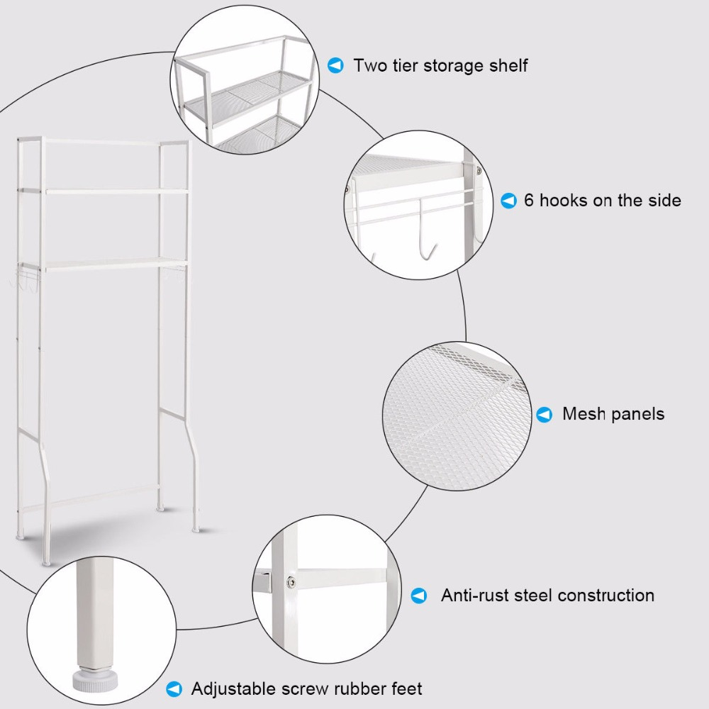 Giantex 2 Tire Space Saver Storage Rack Over Washing Machine Laundry Toilet Bathroom Modern furniture HW57751 11