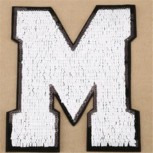 Patch deal with it sequins letter M logo design fashion girl clothes women motif embroidery patches for clothing free shipping(China)