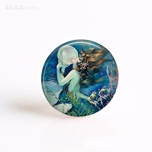The Mermaid's Pearl Cameo Jewelry Art Picture 25mm Glass Cabochon Pendant Making Fashion Accessories(China)