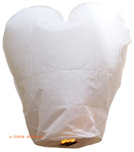 100pcs/lot Chinese Heart White Sky Lantern For Wedding Birthday Parties Celebrations Memorials Funerals Decoration