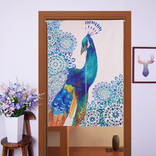 Peacock door curtain 85*90cm, 85*125cm shower door curtain Hallway hangings window curtains Vintage curtain with flexible pole(China)