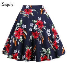 Buy Sisjuly women vintage short pleated skirt high waist floral print a-line plus size 4xl summer womens chic party mini skirts for $14.12 in AliExpress store