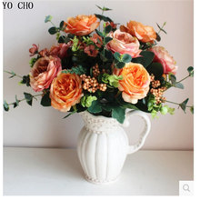 YO CHO Large Artificial peony bouquet High quality wholesale European simulation Rose flower artificial silk flowers(China)