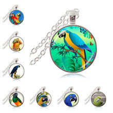 Parrot Necklace Golden Macaw Pendant Bird Jewelry Glass Cabochon Sweater Chain Necklace Handmade Jewellery for Animal Lover(China)