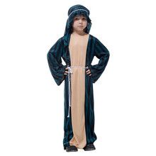 2017 New Design Children Boys Arab Warrior Cosplay Costume Dark Dreen Robe Clothes Halloween Carnival Fancy Dress Party Supplies