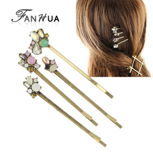 FANHUA 4pcs/set New Hair Jewelry Retro Style Antique Gold-Color Colorful Rhinestone Flower Barrettes Hairwear  Accessories