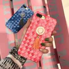 Luxury hard Plastic Weave Straw hat Tassels Gradient Case for iphone 6 6plus 6S 6Splus 7 7plus Cover PC Cell Phone Cases