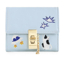 2017 New Arrival Cat Lock Card  Star Animal Prints Blue Embroidery Leather PU Women's Day Clutches Envelope Wallet Coin Purses