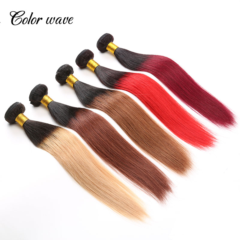 Color Wave Brazilian Remy Hair Straight Cheap Human Hair 4Pcs Lot Ombre Extensions ombre hair Machine Double Weft Tangle Free<br><br>Aliexpress