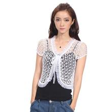 2017 Summer Lace Shrug Women Open Stitch Beading Short Sleeve Cardigan Crochet Shrugs For Women Hollow Out Beach Shrug
