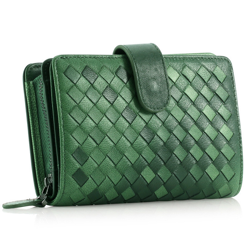 Women Real Leather Weaving Purse High Quality Top Layer Cowhide Lady Fashion Wallet Clutch Evening Bag Short Wallets<br>