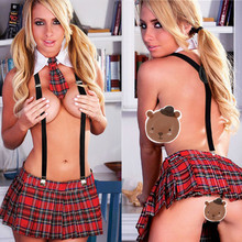 Buy Q145 Women sexy lingerie cosplay student uniform open bra bodydoll Plaid mini skirt sexy costumes fantasia erotic underwear