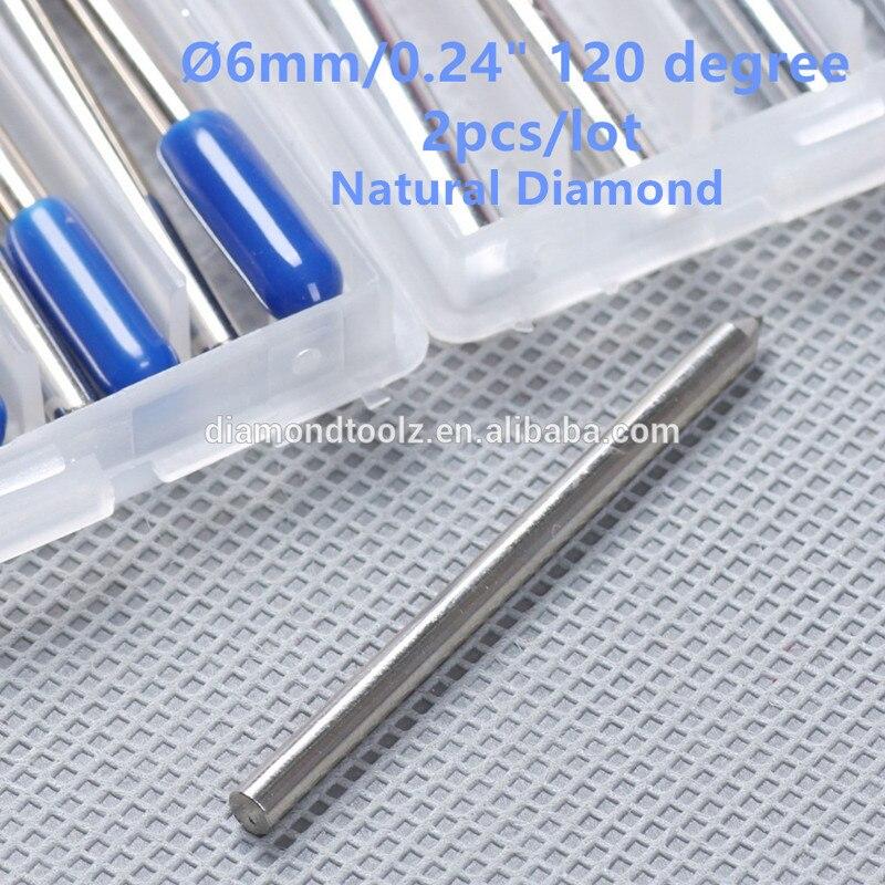 Talentool  Free Shipping 2pcs/set Natural  Diamond Drag Engraver Bit with 120 degree Dia 6mm  for cnc machine<br><br>Aliexpress