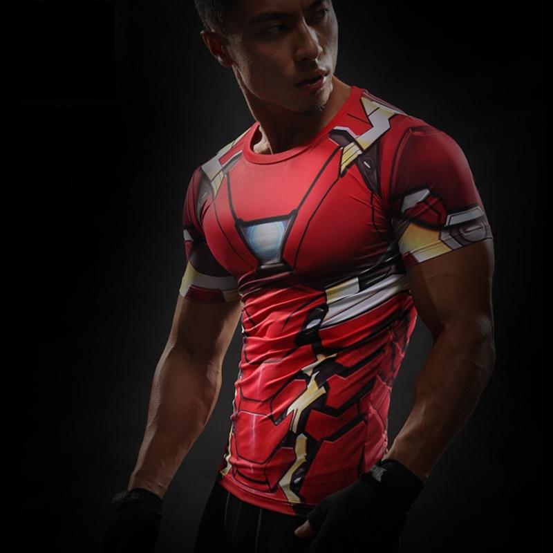 Short Sleeve 3D T Shirt Men T-Shirt Male Crossfit Tee Captain America Superman tshirt Men Fitness Compression Shirt Punisher MMA 42