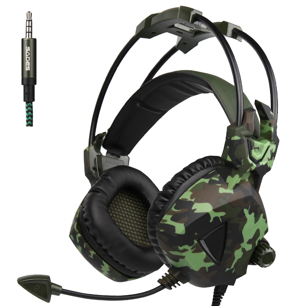 Sades SA-931 Camouflage Pattern PS4 Gaming Headset Stereo Bass Headphones with microphone for PC Mobile phones Laptop Gamer<br>