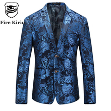 Fire Kirin Floral Blazer Men 2017 Autumn Mens Velvet Blazers Red Blue Gold Blazer For Men 5XL Wedding Prom Party Suit Jacket Q29