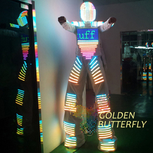 LED Clothing Light Suits LED Robot Costume Helmet Glowing Stilts LED Clothes Men Clothes With Ballroom Mechanical Dance(China)