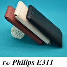 Phone Case For Philips Xenium E311 PU leather luxury pouch flip waist bag cover phone holster coque housing(China)