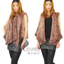 CX-G-B-208 Ladies New Fashion Hand knitted Wears Mink Fur Vest(China)