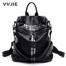 VVJIE Brand Fashion Women Backpacks Rivet Black Soft Washed Leather Bag Schoolbags For Girls Female Leisure Bag mochilas(China)